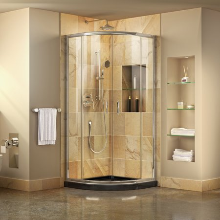 DreamLine Prime 33 in. D x 33 in. W x 74 3/4 in. H Clear Framed Sliding Shower Enclosure in Chrome, Corner Drain Black Base Kit Drain Shower Enclosure