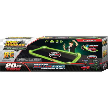 Max Traxxx Tracer Racer Glow-in-the-Dark R/C Starter Set, 20' Track