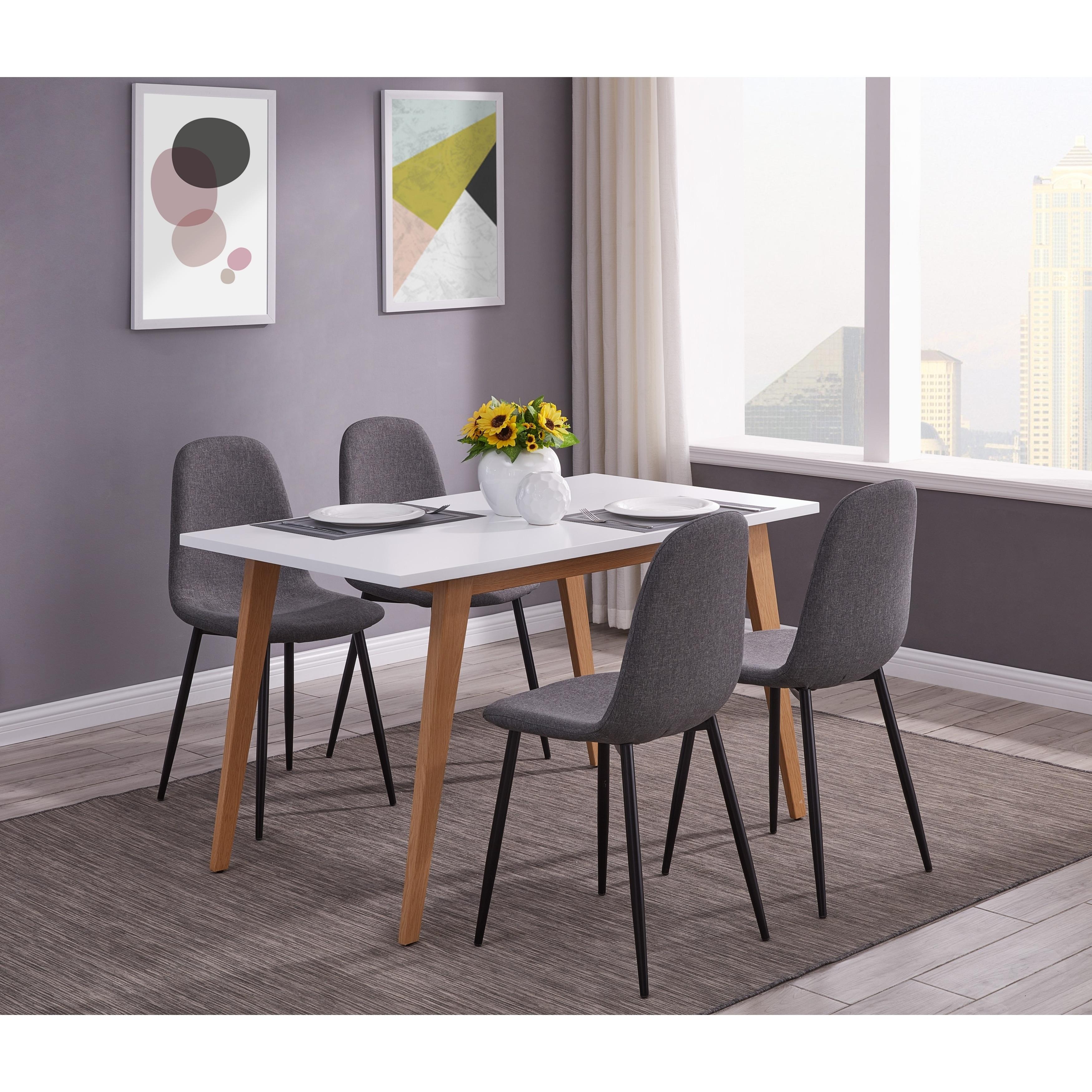 IDS  Online Minimalism Style 5 PCS White Dining Table Set