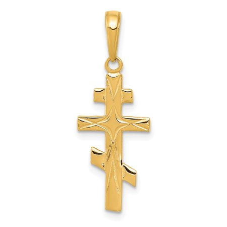 Gold Orthodox Cross - 14k Yellow Solid Gold Eastern Orthodox Cross Pendant for Necklace
