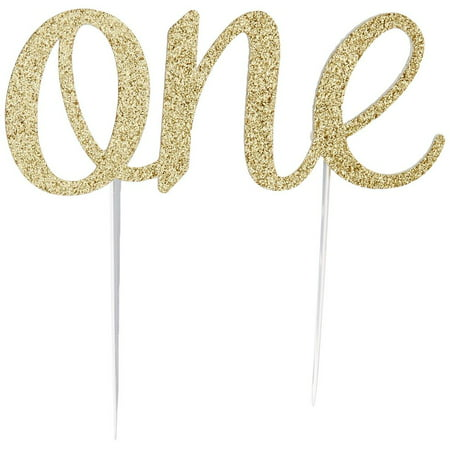 Handmade 1st First Birthday Cake Topper Decoration - One Cake Topper - Made in USA with Double Sided Glitter Stock (Gold)