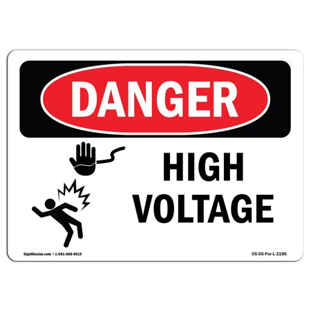 Danger High Voltage Tabs - OSHA Danger Sign - High Voltage | Choose from: Aluminum, Rigid Plastic Or Vinyl Label Decal | Protect Your Business, Construction Site, Warehouse & Shop Area |  Made in The USA