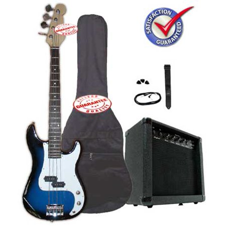 Electric Bass Guitar Pack with 20 Watts Amplifier, Gig Bag, Strap, and Cable, Blueburst