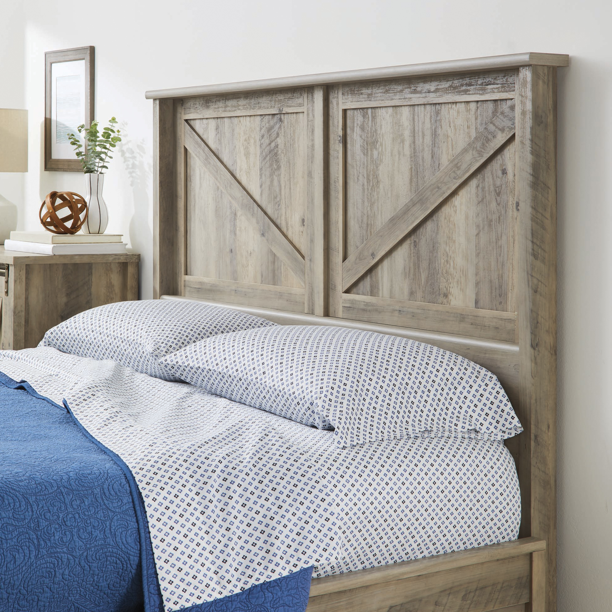 Better Homes & Gardens Modern Farmhouse Queen Headboard, Rustic Gray Finish