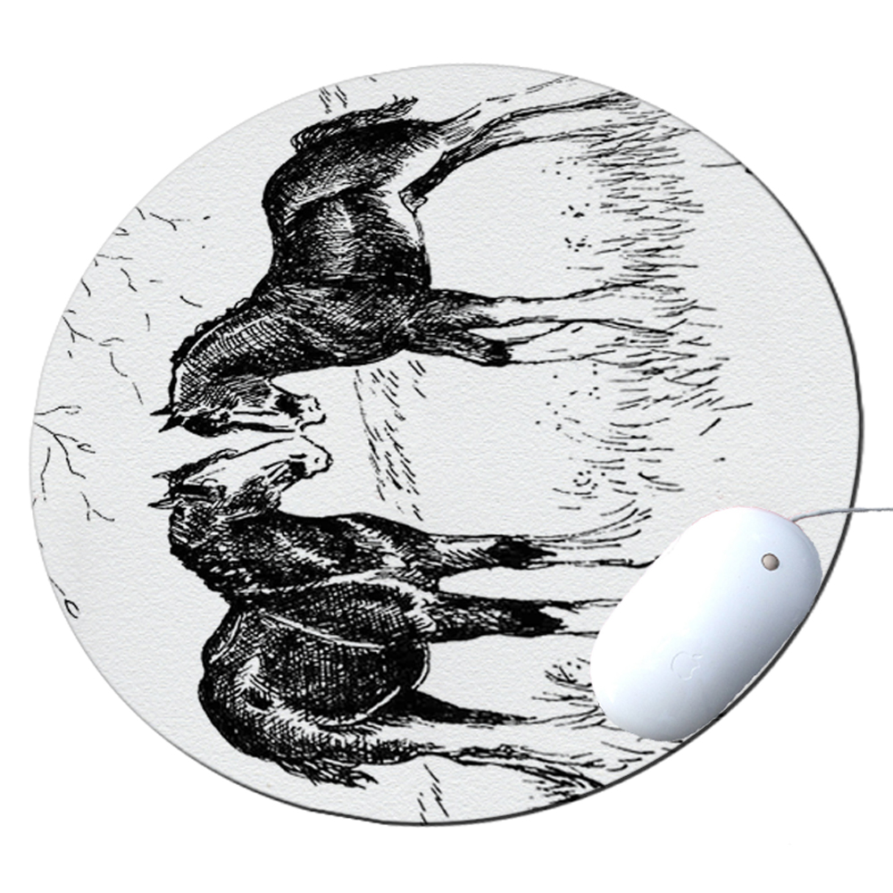 KuzmarK Round Mousepad / Hot Pad / Trivet - Clydesdale Drawing pen and ink black white Art by Denise Every