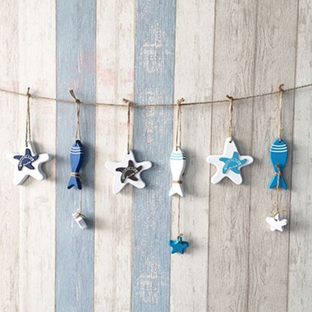 Moderna Mediterranean Nautical Wall Decor Hanging Craft Wooded Fish Starfish Ornament