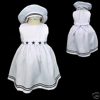 New Baby Infant Toddler Formal Wedding Sailor White 2pc Girl Dress + Hat sz S-4T - White Toddler Dress