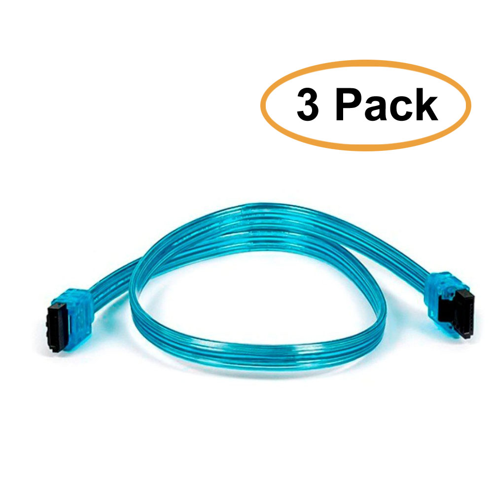 3 Pack, 18 inch SATA 6Gbps Cable w/ Locking Latch UV Blue