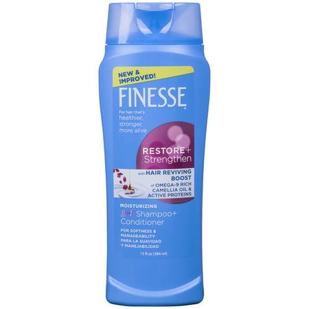 Finesse Restore + Strengthen Moisturizing 2 in 1 Shampoo & Conditioner, 13 fl oz
