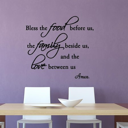 VWAQ Bless the Food Before Us, the Family Beside Us, and the Love Between Us Wall Decals Vinyl Wall Art Quotes Home Decor ()