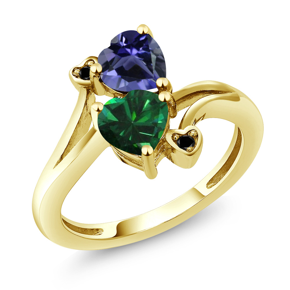 1.29 Ct Heart Shape Green Simulated Emerald Blue Iolite 14K Yellow Gold Ring