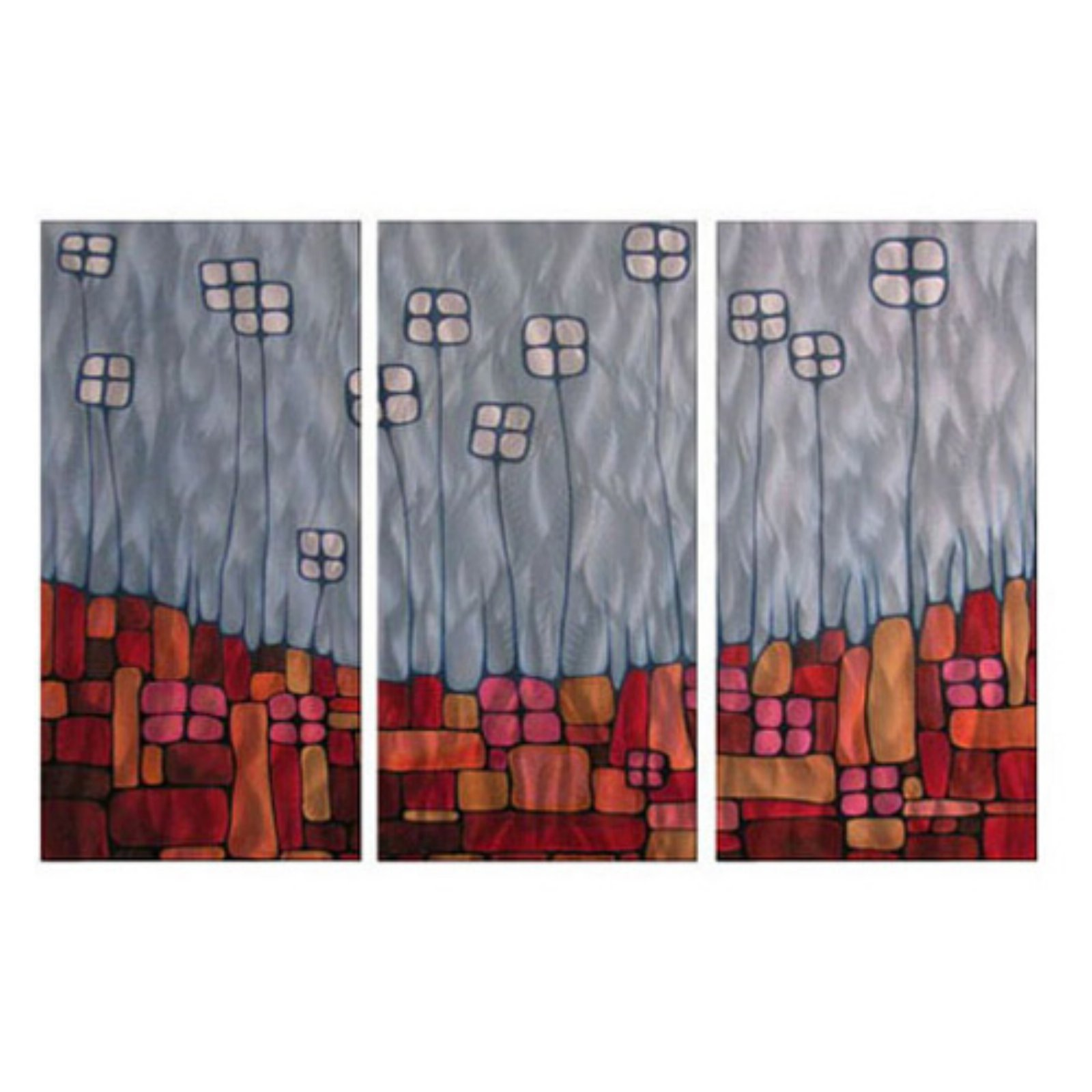 Recepticles Metal Wall Art - Set of 3 - 38W x 23.5H in.