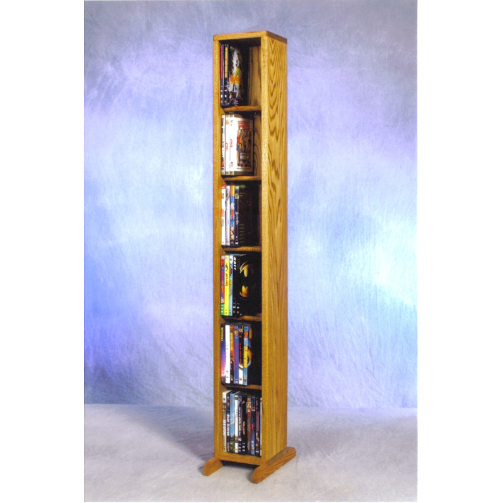 The Wood Shed Solid Oak 6 Row Dowel CD / DVD Combination Media Rack - 7 in. Wide
