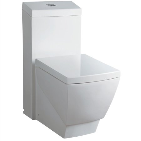 WOODBRIDGE T-0020 Dual Flush Elongated One Piece Toilet with Soft Closing Seat Design, Deluxe Square