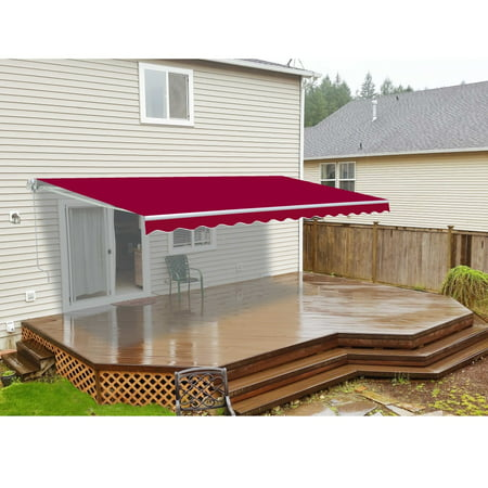 ALEKO® Retractable 10' X 8' Patio Awning Motorized 10ft x 8ft (3m x 2.5m) Burgundy Color - image 1 of 5