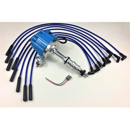 ford fe 332 352 360 390 406 427 428 blue hei distributor + 8mm spark plug  wires - walmart com