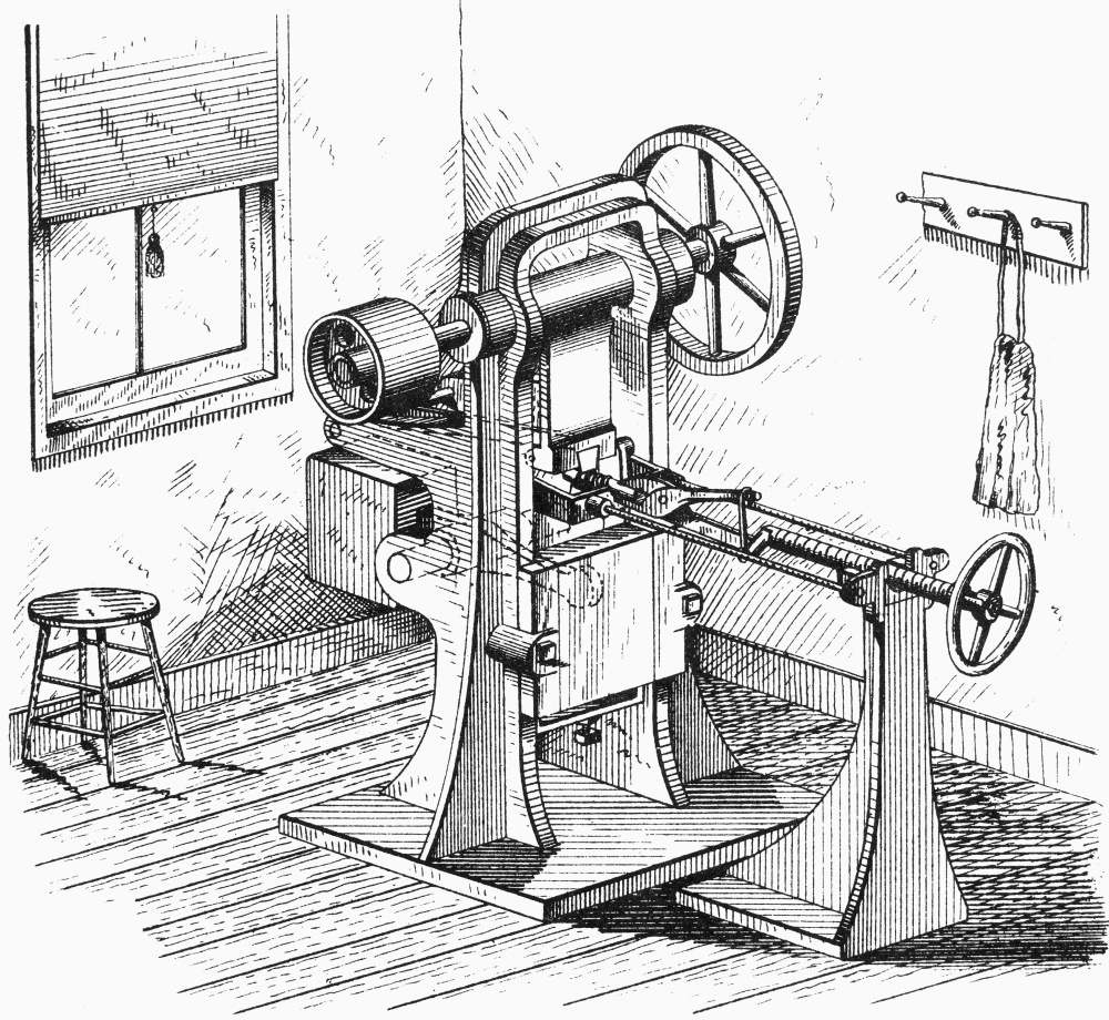 Screw-Making Machine Nreciprocating Dies For Forming Threads 1866 Poster Print by Granger Collection