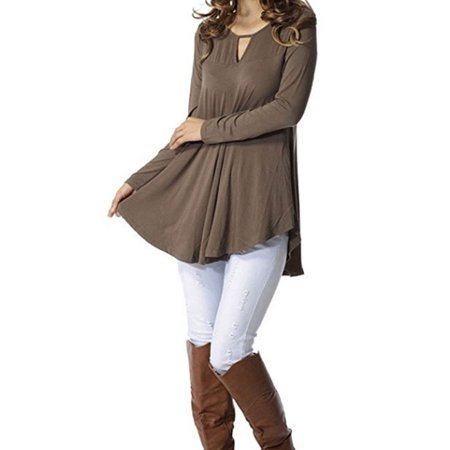 Starvnc Women Long Sleeve Hollow Out V Neck Ruched Asymmetric Hem Pure Tops