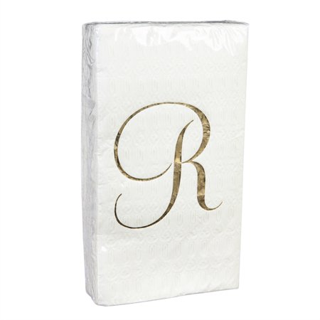 32ct. Guest Towel, Gold Foil, Monogram R ()