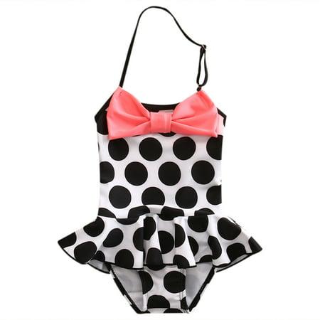 Toddler Baby Kids Dot Bow Halter Ruffle Bikini Swimsuit One Piece for Girls
