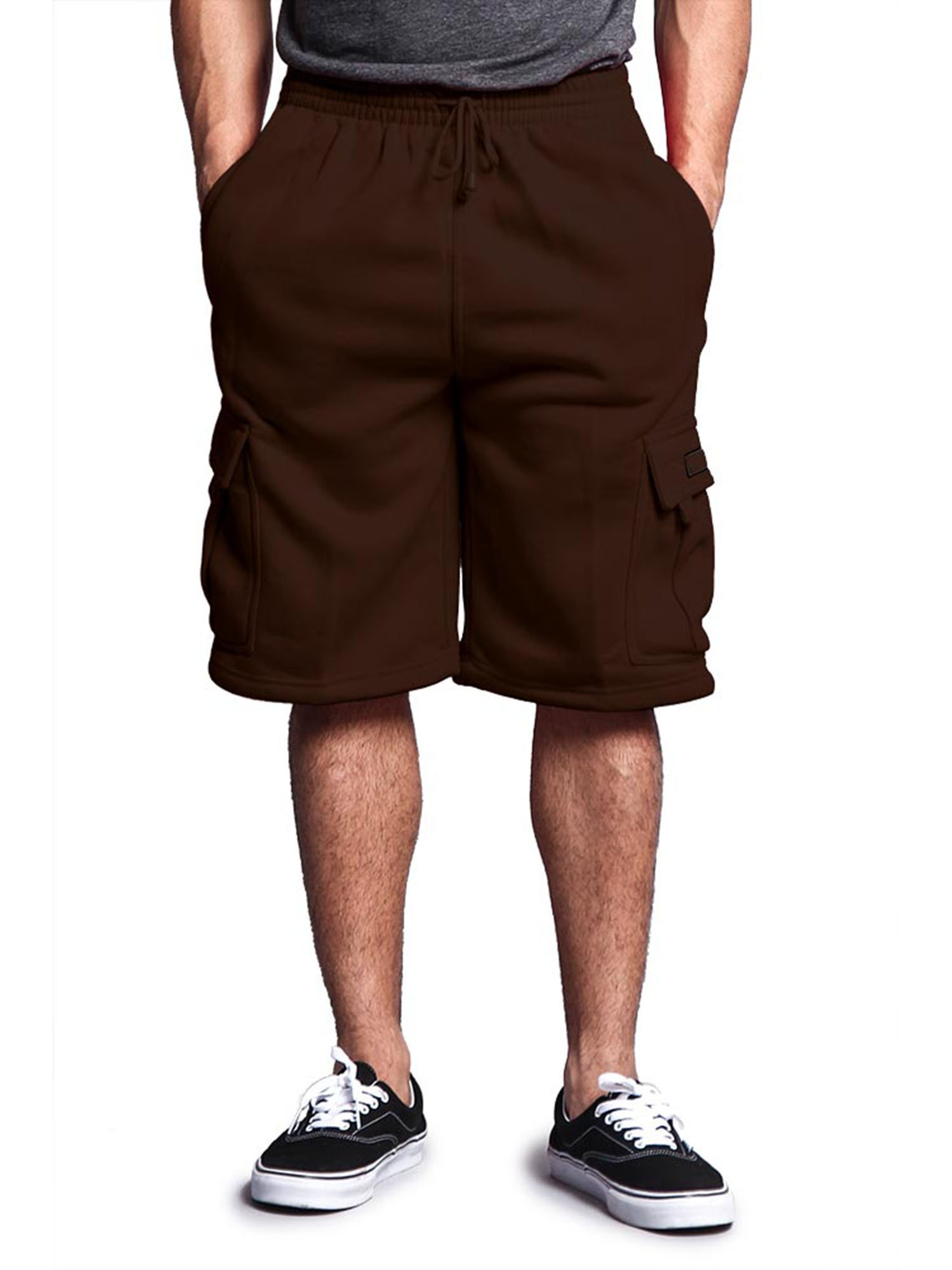 G-Style USA Men's Solid Fleece Cargo Shorts DFP1 - Charcoal - Medium
