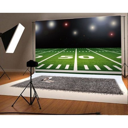 HelloDecor Polyster 7x5ft Photography Backdrop Football Field Stage Lights Glitter Sequins Green Grass Interior Sports Theme Background Kids Children Adults Photo Studio