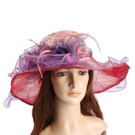 Vbiger - Organza Sun Hat-Vbiger Womens Elegant Organza Sun Hat Chic Summer  Beach Sunhat Foldable Wide Brim Organza Hat Sun Cap - Walmart.com 439004425f4a