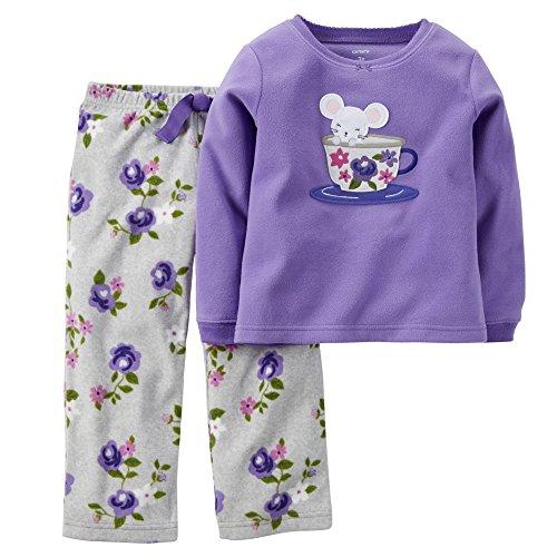 Big Girls' Long Sleeve 2-piece Fleece Mouse and Tea Cup; Purple; (7)