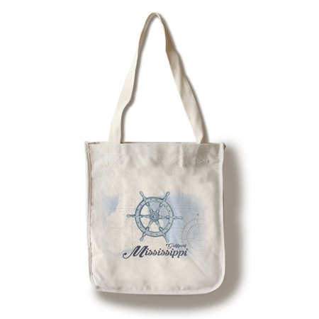 Gulfport  Mississippi   Ship Wheel   Blue   Coastal Icon   Lantern Press Artwork  100  Cotton Tote Bag   Reusable