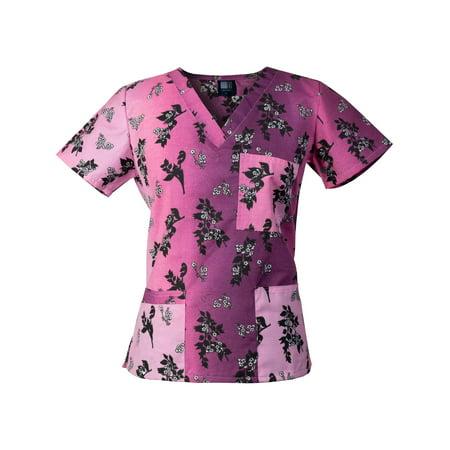 Medgear Womens Fashion Scrubs Top, Printed V-neck with 4-Pockets - Disney Halloween Scrubs