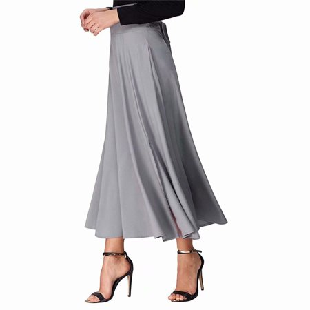Extreme Dimensions Side Skirts - Akoyovwerve Women's High Waist Party Accordion Pleated A-Line Long Skirt Side Slit Pocket Flared Midi Skirt with Belt,Light Gray