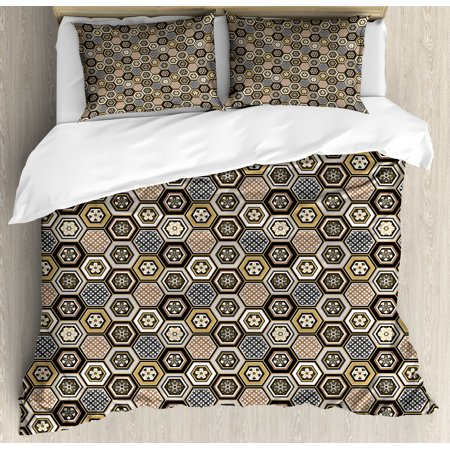 Floral King Size Duvet Cover (Floral King Size Duvet Cover Set, Victorian Damask Baroque Hexagon Rococo Interlocking Abstract Design, Decorative 3 Piece Bedding Set with 2 Pillow Shams, Pale Coffee Tan Warm Taupe, by Ambesonne )
