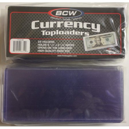 25 BCW CURRENCY TOPLOADERS Hard Rigid Holders for Banknotes Money US Dollar Bill (Currency Dollar)