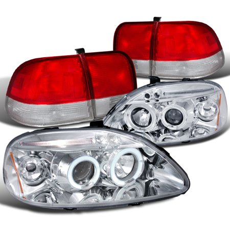 Spec-D Tuning For 1996-1998 Honda Civic Sedan 4Dr Chrome Halo Led Projector Headlights + Red Clear Tail Lamps (Left+Right) 1996 1997 1998