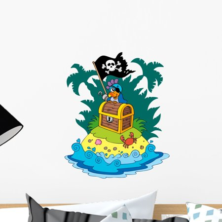 Treasure Island with Pirate Wall Decal by Wallmonkeys Peel and Stick Graphic (18 in H x 15 in W) WM290035