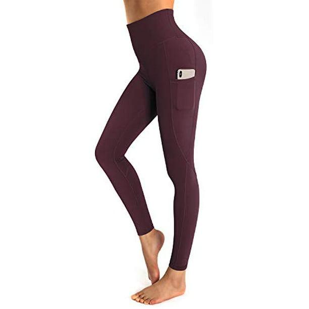 Ouges Ouges Womens High Waist Yoga Pants With Pockets Workout Running Leggings Wine Xl Walmart Com Walmart Com