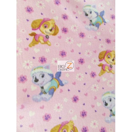 David Textiles Fleece Printed Fabric / Paw Patrol Playtime Pink / Sold By The Yard](Paw Patrol Fabric)
