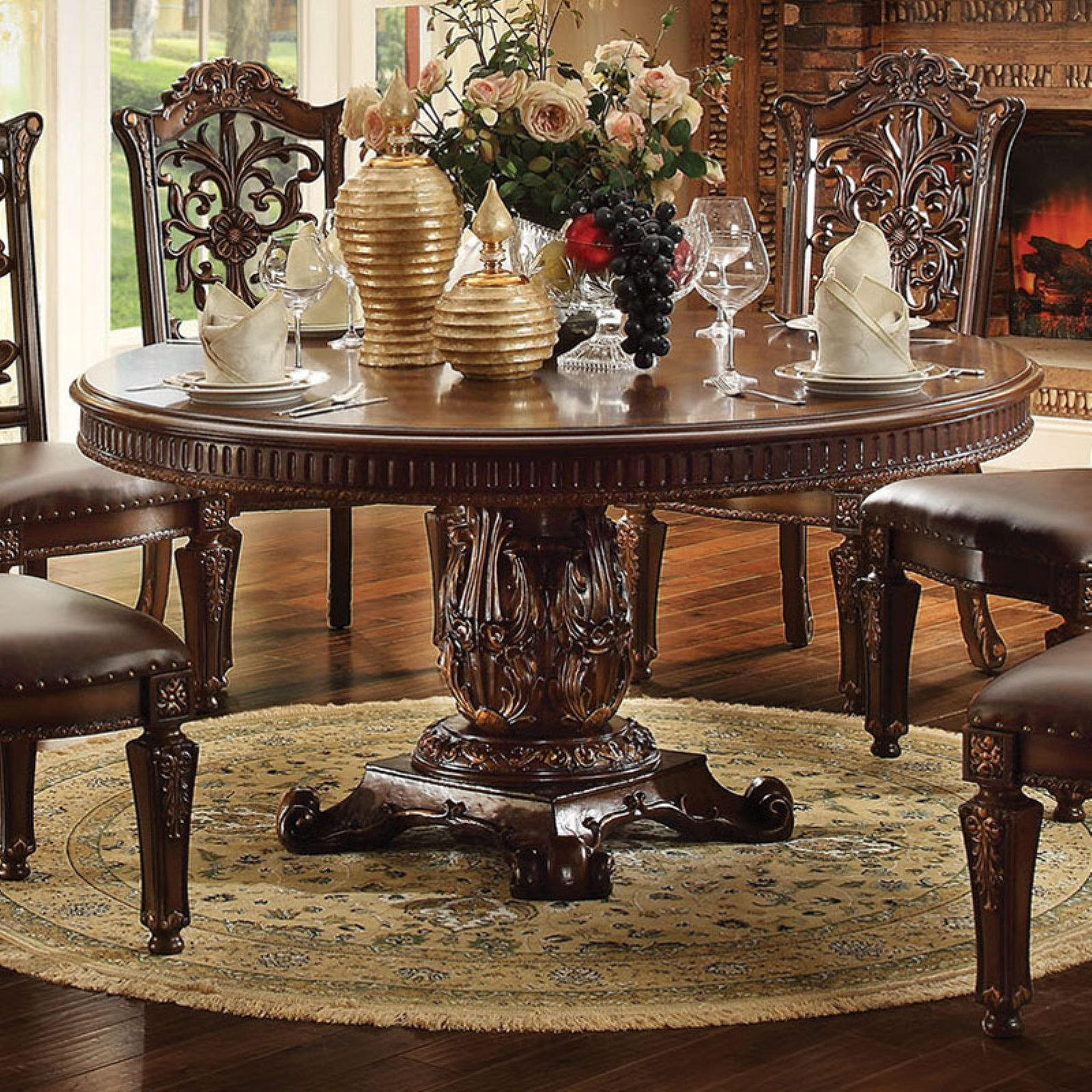 Acme Furniture Vendome Smaller Round Pedestal Dining Table   Cherry