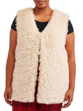 Terra & Sky Plus Size Sherpa Sweater Vest Women's