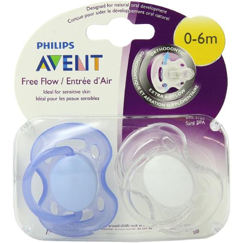 Philips Avent BPA Free Freeflow Pacifier, 0-6 Months 2 ea (Pack of 3)