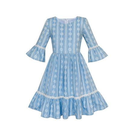 (Girls Dress Denim Blue Bell Sleeve Ruffled Skirt Easter Dress 5)