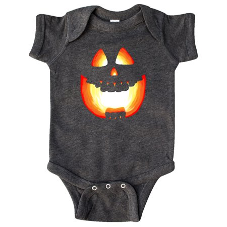 Toothy Grin Pumpkin Face in Orange Glow Infant Creeper
