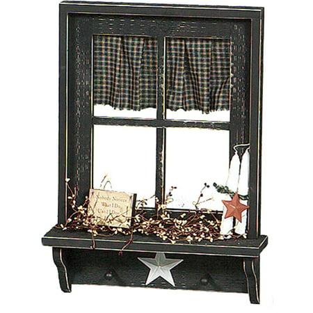 Primitive 4 Foot Decorative Window with Shelf (Primitive Font)