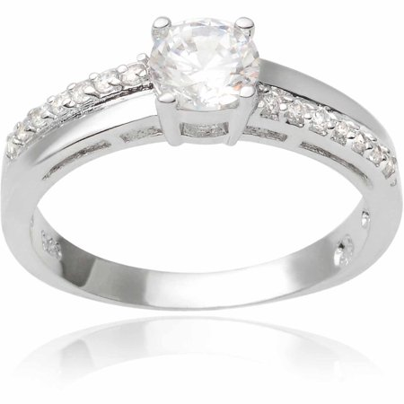 Image of Alexandria Collection 3-1/2 Carat T.G.W. Round CZ Sterling Silver Bridal Ring