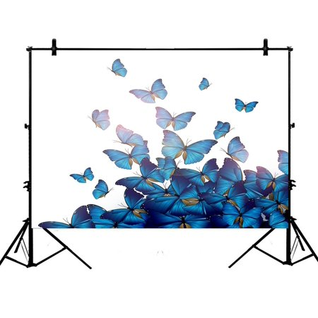 Personalized Photo Backdrop (PHFZK 7x5ft Personalized Beautiful Blue Butterflies Art Print Design Photography Backdrops Polyester Photo Background Studio)