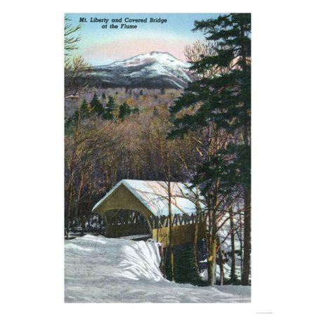 Halloween Stores In Nh (White Mountains, NH - Covered Bridge at Flume in Winter, Mt Liberty in Distance Print Wall Art By Lantern)