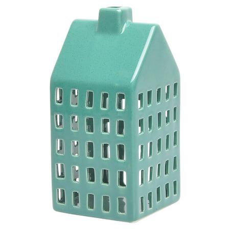 Green Lantern Mosaic (Sagebrook Home Farmhouse Ceramic Lantern Candle)