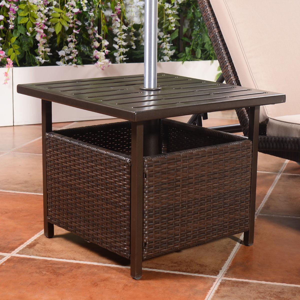 Costway Brown Rattan Wicker Steel Side Table Outdoor Furniture