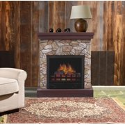 """DECOR FLAME 26"""" Polyfiber Electric Fireplace, Tan"""