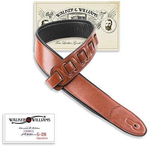 Walker & Williams G-28 Chestnut Brown Semi-Gloss Bullnose Guitar Strap with Padded Glove Leather Back
